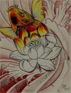 Idea Ocean Tattoos, Life Tattoos, Tatoos, Koi Fish Tattoo, Lotus Tattoo, Tattoo Sketches, Drawing Sketches, Drawings, Koi Art