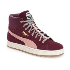 PUMA 'Suede Rugged' High Top Sneaker ($75) ❤ liked on Polyvore featuring shoes, sneakers, italian plum, colorful shoes, lace up sneakers, suede high top sneakers, multi colored sneakers and high top sneakers