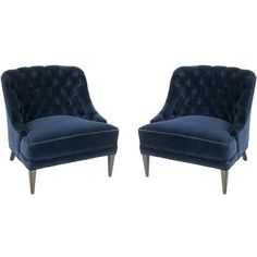 Pair of Navy Blue Velvet Tufted Back Lounge Chairs found on Polyvore