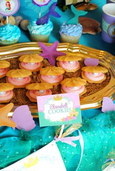 Clamshell cookies at a mermaid birthday party! See more party ideas at CatchMyParty.com!