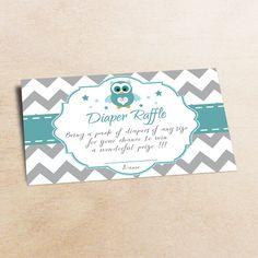 Owl Baby Shower Diaper Raffle Ticket Diaper от LittlePartyPaper