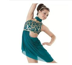 Women's Children Performance Sequined Lycra Side-Draped Outfit.