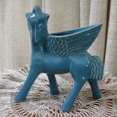 Vintage Pottery Red Wing Art Pottery  Pegasus Planter Aqua 1949. $120.00, via Etsy.