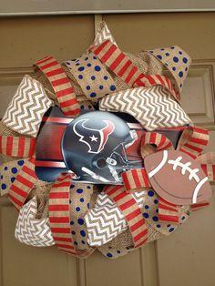 Houston Texans wreath - AllThingsSouth Etsy shop - $60  Custom Team Burlap Wreaths - all teams available!