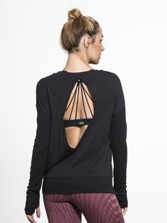 Intricate Long Sleeve in Black by Alo Yoga from Carbon38
