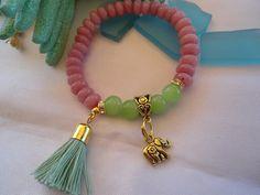 SALE  ARM CANDY  Bohemian style Bracelet Elephant Charm by Nezihe1, $15.99