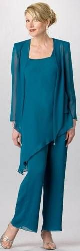 Plus Size Formal Pant Suits and Plus Size Cocktail Pants Suits are a great option if you need to go to a dressier event, a dressy wedding or even for a cruise. Chiffon Pants, Chiffon Dress, Lace Chiffon, Dress Lace, Mother Of The Bride Trouser Suits, Mother Of The Bride Gown, Mother Bride, Formal Pant Suits, Fashion Clothes