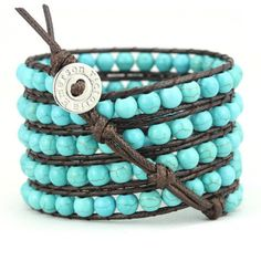 - 100% Vegan - Classic 5-wrap bracelet made with reconstituted Turquoise on Dark Brown Korean Waxed Cord - 100% hand made. Unbelievable attention to detail. - Each bracelet has one clasp with closures