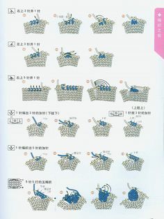 Japanese Knitting Symbols: chart symbols, Japanese characters and associated pictures of how to knit stitch
