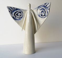 Ceramic Angel ~Angel Statue ~Ceramic Sculpture ~Angel Wing Decor ~Angel ~Angel…