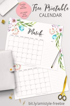 free printable planner 2017 march calendar with beautiful watercolor floral design printable 2017 Planner, Planner Pages, Weekly Planner, Meal Planner, College Planner, College Tips, Free Printable Calendar, Printable Planner, Free Printables