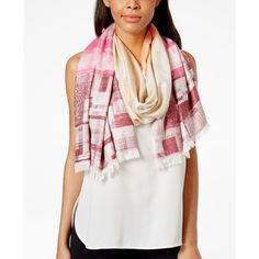 Collection Xiix Geo Print Oblong Scarf ($32) ❤ liked on Polyvore featuring accessories, scarves, carmel latte, oblong scarves, collection xiix scarves, collection xiix, long shawl and wrap shawl