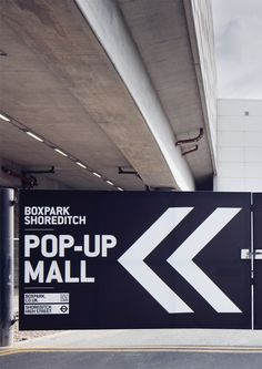 A selection of design work by filthymedia in 2013 for Boxpark Shoreditch, a pop-up mall based in East London. Signage Design, Branding Design, Identity Branding, Corporate Design, Visual Identity, Industrial Signage, Vynil, Wayfinding Signs, Gym Decor