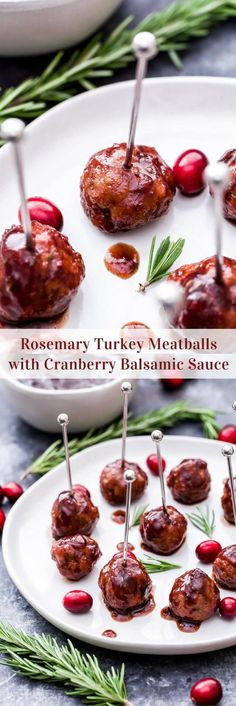 Every party needs a good meatball and these Rosemary Turkey Meatballs with Cranberry Balsamic Sauce are sure to be a crowd pleaser this holiday season! #meatballs #appetizer #turkey #cranberry #glutenfree