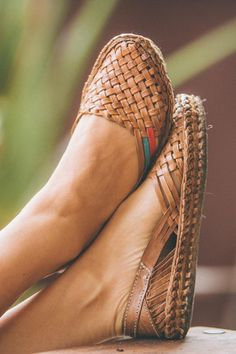 Women's Woven Leather Flats by Mohinders. Handcrafted by artisans in rural India.