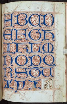 Page from Medieval Scribe's Artbook, sample alphabet:The Macclesfield Alphabet Book, England, 1475-1525, British Library