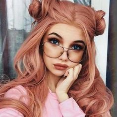 Women Pink Wigs Lace Front Hair Pink Mauve Hair Pink And Purple Hair Pastel Neon Green And Pink Hair – tomatoral Peach Hair, Purple Hair, Long Pink Hair, Doubles Chignons, Pink Wig, Ombre Hair Color, Hair Colors, Pastel Hair, Pastel Pink