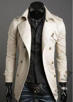 Fashion trench-jaket. Color: WHITE., men's wear, kpop fashion, kfashion, korea, asian fashion, asia, guy's wear, boy, man's wear, korean