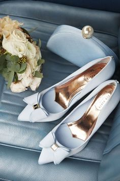 Ted Baker Blue Bow Shoes #weddingshoes