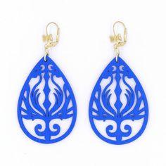 Amazon.com: Cobalt Blue Wood Earrings Phoenix Teardrop Statement Earrings Silver Brass Black Gunmetal Flame Filigree…