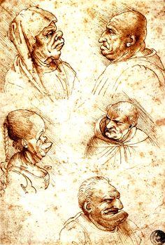 Grotesque Heads by Leonardo da Vinci, 1490