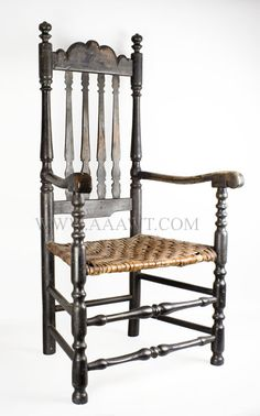 18th C New England Bannister Back - A late 17th-century English or American chair with split turned stiles or flat bars for the uprights of the chair back.  A more elegant and polished variation of this type of chair back was popular in the Hepplewhite period,