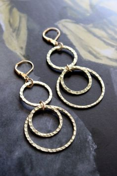 Gold Hammered Hoop Dangle Earrings by TresaJewelry on Etsy, $18.00