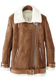 Belted Oblique Zipper Woolen Coat
