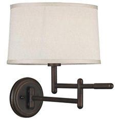 Kenroy Home Theta Bronze Plug-In Swing Arm Wall Light