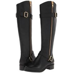 Rachel Zoe Thomas (Black) Women's Zip Boots ($655) ❤ liked on Polyvore featuring shoes, boots, black, knee-high boots, faux-leather boots, black leather knee high boots, faux-fur boots, black boots and knee high boots