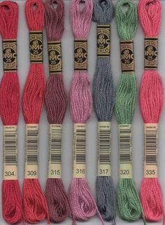 DMC 300 series six stranded embroidery floss 304, 309, 315, 316, 317, 320, 335