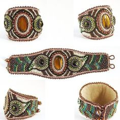 CERIDWEN Bead Embroidered Cuff with Tigers Eye and Swarovski Crystal Rivolis