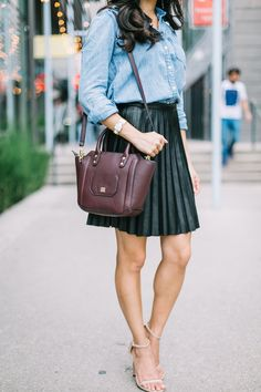 Fall style with leather, burgundy and chambray.