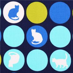 blue cat dot animal fabric Robert Kaufman Sitting Pretty
