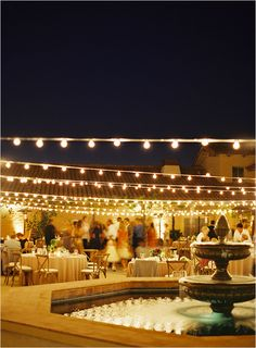 santa barbara historical museum- the lights and the fountain! a beautiful and rustic feeling venue for your perfect day! #swoon