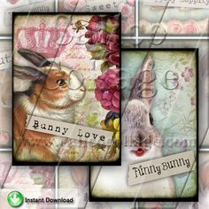 NEW Funny Bunnies  Instant Download Digital by calicocollage, $4.15