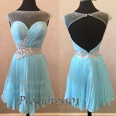 2015 cute open back beaded ice blue tulle short prom dress for teens - prom dresses,ball gown and evening dresses for #promdress01