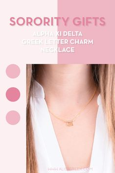 Sorority charm necklaces are the easiest gift for any celebration: Recruitment, Bid Day, Back to School & Big/Little. Spoil your new sorority girl with our simple and dainty Greek letter charm necklace! Alpha Xi Delta Gifts | Alpha Xi Delta Bid Day | AXiD Necklace | Alpha Xi Delta Jewelry | Sorority Bid Day & Recruitment | Sorority Jewelry Gifts | Sorority College Gift | Sorority New Member Gift Ideas | Dainty Jewelry | Simple Gold Charm Necklace #SororityGifts #SororityJewelry Letter Charm Necklace, Charm Necklaces, Letter Charms, Charm Jewelry, Jewelry Gifts, Simple Jewelry, Dainty Jewelry, Delta Greek Letter, Alpha Xi Delta