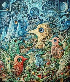 """""""Strażnicy Krainy Dobrych Snów"""" akryl na płycie, 70x60 cm"""