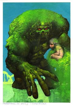 Simon Bisley - Cover to a Swamp Thing book by DC. I wished he had done the inside of a Swamp Thing book or a fully painted book, but I think those days are gone.