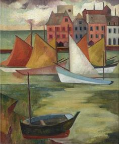 Alison Rehfisch (Australia 1900-1975) Sailing Boats, Brittany (c.1938) oil on canvas 59 x 49 cm