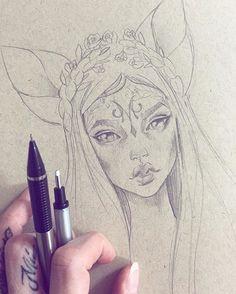 drawing girl animal pencil