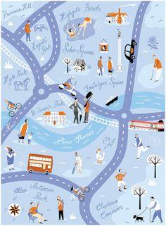 London Parks Map by David Hitch. TFL [Transport for London]