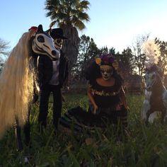 Dia de Los Muertos Barbie repaints,Barbie was mid fall when I snapped the photo. #diadelosmuertos #barbiehorses #recycledart #sugarskullhorse #sugarskullart #skullhorse #sugarskullfamily #austin #austintx #newmexico #roswellnm #horse #horseart #repaints