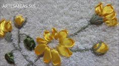 Toalla bordada en cintas ♥ Girasol ♥  Parte 3/4
