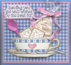 Cute bowl of soup stamped card as a get well, complete with pkgd. soup and spoon!  Love it!  Stamps used are Darcie's of course!