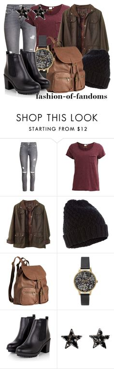 """""""Traveler's Outfit"""" by fofandoms ❤ liked on Polyvore featuring H&M, Object Collectors Item, Barbour, Accessorize, Olivia Burton and Emanuele Bicocchi"""
