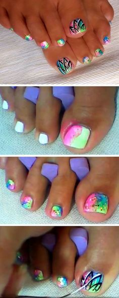 Easy Neon Toenails 18 DIY Toe Nail Designs for Summer Beach Easy Toenail Art Designs for Beginners Pedicure Nail Art, Toe Nail Art, Nail Art Diy, Diy Nails, Acrylic Nails, Pedicure Colors, Pedicure Ideas Summer, Nail Colors, Cute Toe Nails