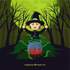 Witch background with cauldron in green tones Free Vector