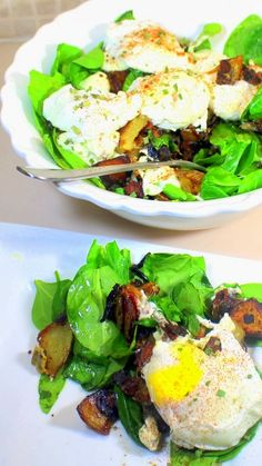 Poached Eggs on a Potato, Onion and Cheddar Cheese Hash with a Bacon/Sour Cream Sauce on Spinach  It's a really good breakfast... Kind of a deconstruction of a cowboy potato hash with fancy poached eggs (and sure, a big platter of the hash topped with some fried eggs or even scrambled eggs would work just fine). Add some spinach for color, healthy living...  BUT THERE IS A TREAT, a SURPRISE BACON - SOUR CREAM Sauce that sends the whole thing beyond a cowboy hash scramble. ..